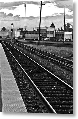 Metal Print featuring the photograph train tracks - Black and White by Bill Owen