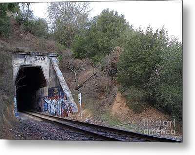 Train Tunnel At The Muir Trestle In Martinez California . 7d10229 Metal Print by Wingsdomain Art and Photography