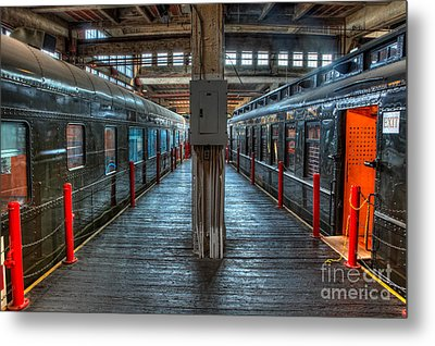 Trains - Two Rail Cars In Roundhouse Metal Print by Dan Carmichael