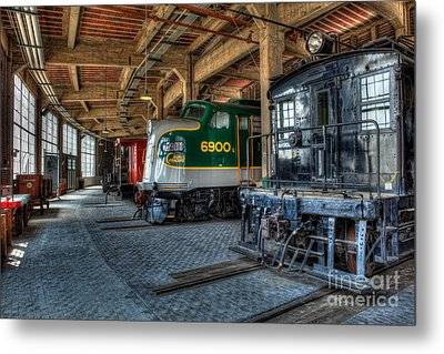 Trains - Engines Railcars Caboose In The Roundhouse Metal Print by Dan Carmichael