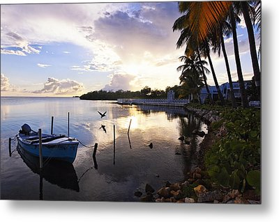 Tranquil Sunset In A Fishing Village Metal Print by George Oze