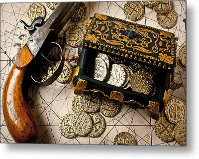 Treasure Box With Old Pistol Metal Print by Garry Gay