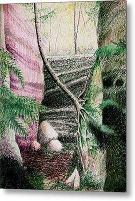 Tree Clinging To Rock Wall Metal Print by MB Matthews
