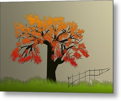 Tree In Seasons - 4 Metal Print by Asok Mukhopadhyay