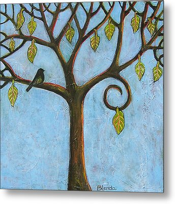 Tree Of Life Blue Sky Metal Print by Blenda Studio