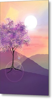 Tree On A Hill Metal Print by Ginny Schmidt