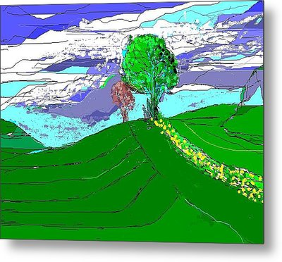 Tree On The Hill Metal Print by Alberto Lacoius-Petruccelli