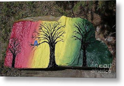 Tree With Lovebirds Metal Print by Monika Shepherdson