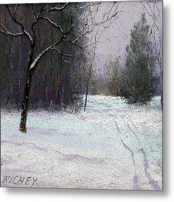 Trees In A Winter Fog Metal Print by Bob Richey