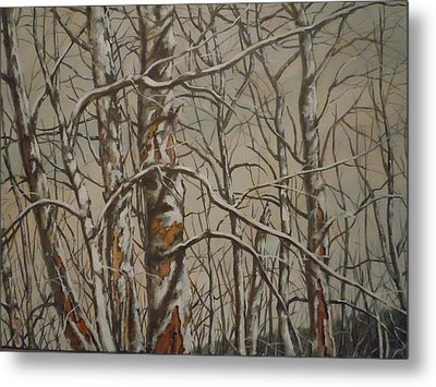 Metal Print featuring the painting Trees In The Mountains by James Guentner