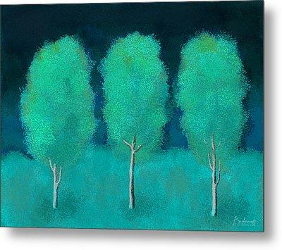 Trees In Triplicate Moonlit Winter Metal Print by Robin Lewis