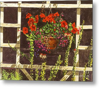 Trellis Flower Pot Metal Print by David Lloyd Glover