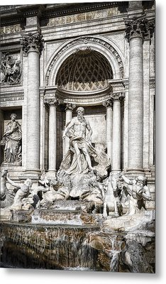Trevi Fountain Detail Metal Print by Joan Carroll