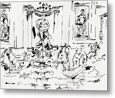 Trevi Fountain Rome Italy Ink Drawing By Ginette Metal Print by Ginette Callaway