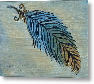 Tri-color Feather Metal Print by Kristen Fagan