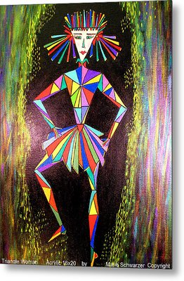 Metal Print featuring the painting Triangle Woman by Marie Schwarzer