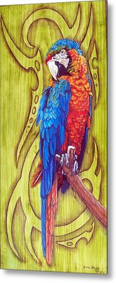 Tribal Macaw Metal Print by Diana Shively
