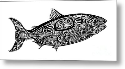 Tribal Salmon Metal Print by Carol Lynne