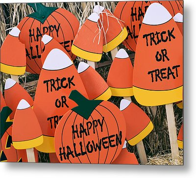 Trick Or Treat Happy Halloween Metal Print by Julie Palencia