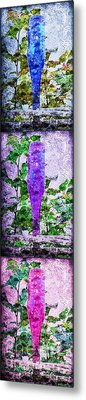 Triptych Cobalt Blue Purple And Magenta Bottles Triptych Vertical Metal Print by Andee Design