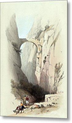 Triumphal Arch Across The Ravine Leading To Petra Metal Print by Munir Alawi