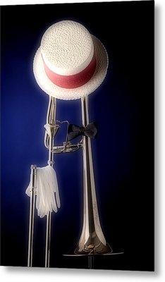 Trombone Hat Bow Tie Metal Print by M K  Miller