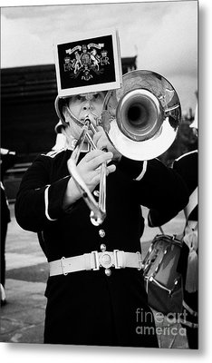 trombone player of the band of HM Royal Marines Scotland at Armed Forces Day 2010 Metal Print by Joe Fox