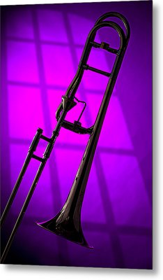 Trombone Silhouette On Purple Metal Print by M K  Miller