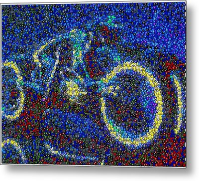 Tron Light Cycle Skittles Mosaic Metal Print by Paul Van Scott