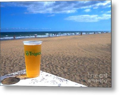 Tropical Beer On The Beach Metal Print by Rob Hawkins