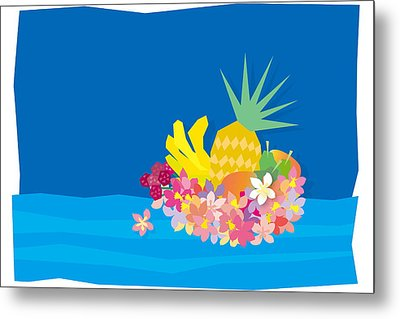 Tropical Flowers With Fruits On Waves Metal Print by Meg Takamura