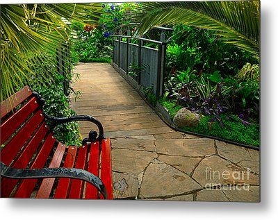Tropical Garden Pathway Metal Print by Elaine Manley