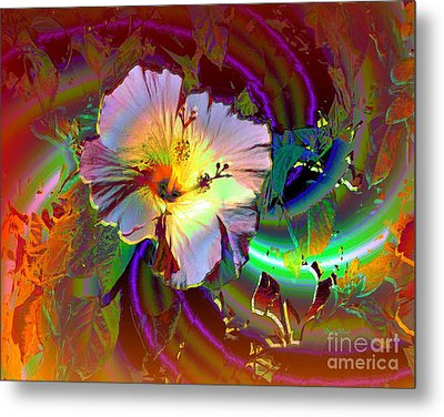 Tropical Hibiscus Explosion Metal Print by Doris Wood