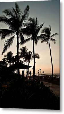 Metal Print featuring the photograph Tropical Island Silhouette Beach Sunset by Valerie Garner
