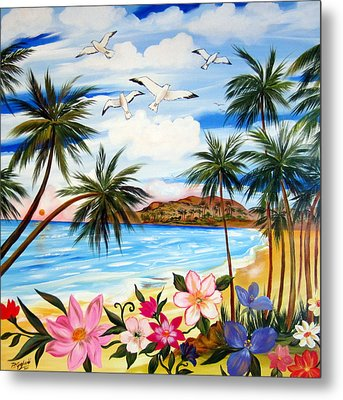 Metal Print featuring the painting Tropical Paradise by Roberto Gagliardi