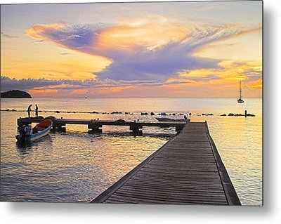 Metal Print featuring the photograph Tropical Sunset- 4- St Lucia by Chester Williams