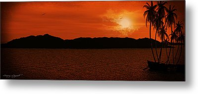 Tropical Sunset Metal Print by Lourry Legarde