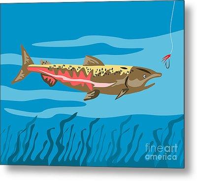 Trout Fish Retro Metal Print by Aloysius Patrimonio