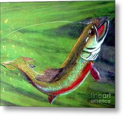 Trout On - Pastel Painting Metal Print by Merton Allen
