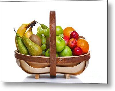 Trug Full Of Fresh Fruit Isolated On White Background. Metal Print by Richard Thomas