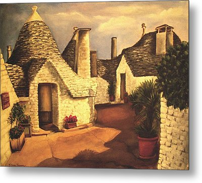 Metal Print featuring the painting Trulli 2 by Sarah Farren