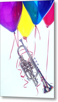 Trumpet Lifted By Balloons Metal Print by Garry Gay