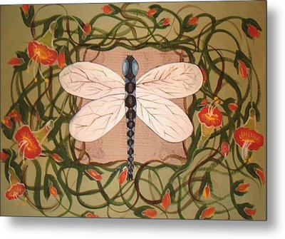 Trumpet Vine With Dragonfly Metal Print by Cindy Micklos