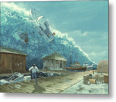 Tsunami Metal Print by Chris Butler and Photo Researchers