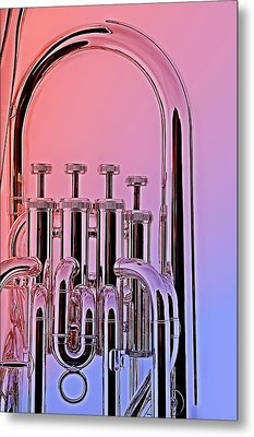 Tuba Euphonium Valves Isolated Metal Print by M K  Miller