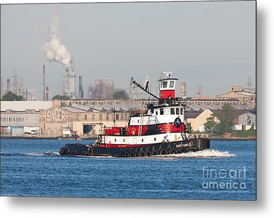 Tugboat Captain D In Newark Bay I Metal Print by Clarence Holmes
