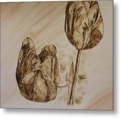 Tulips In Sepia Metal Print by Maureen Hargrove