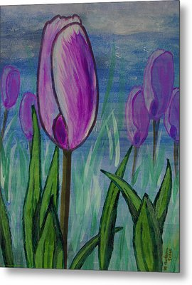Tulips In The Mist Metal Print