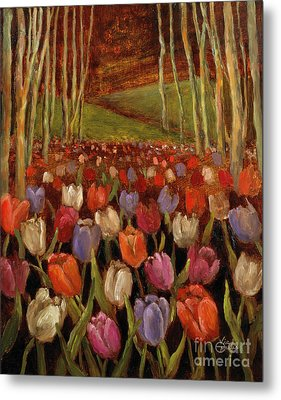 Tulips In The Woods Metal Print by Vic  Mastis