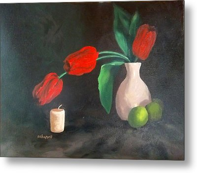 Tulips Limes And Candle Metal Print